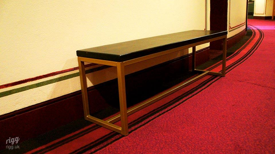 Seating Bench with Dark Wood Seat & Gold Frame