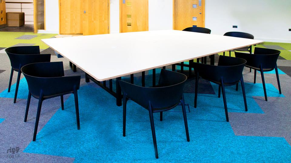 Custom Office Furniture - Special Tapering Shape Meeting Table with HPL Top, Rounded Corners