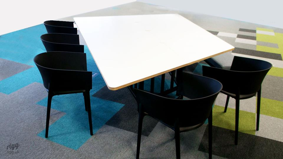 Custom Office Meeting Table with Birch Plywood Wedge Shaped Top