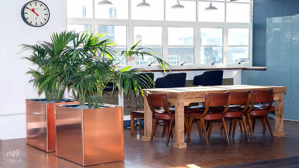 Business Centre Meeting Table with Copper Planters