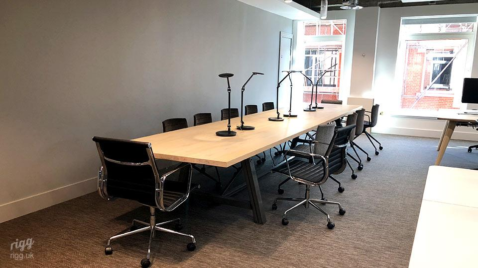 12 Seater Oak Meeting Table, Metal Frame - with Lighting, Power & Data