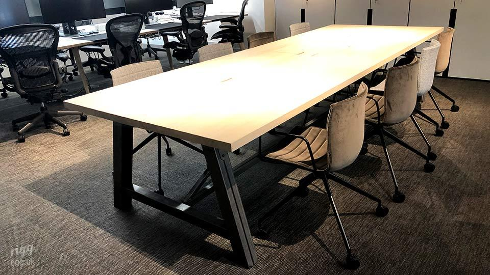 8 Person Meeting & Collaboration Table in Office, Solid Wood Top, Big Industrial A Frame Legs
