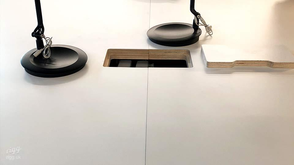 Cable Management Cut-out and Flap Detail on Plywood Top Table | CNC Manufacturing