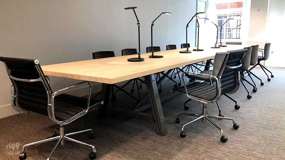 Conference Table with Solid Oak Top in London Fashion Studio
