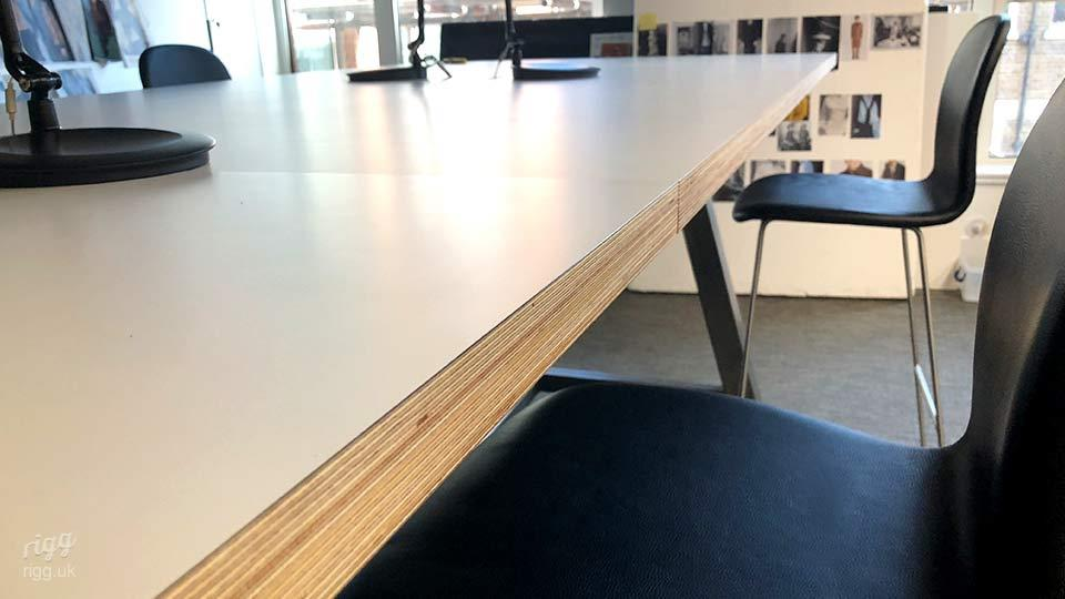 High Long Table with Smooth HPL & Plywood Top in Fashion Design Sewing Studio