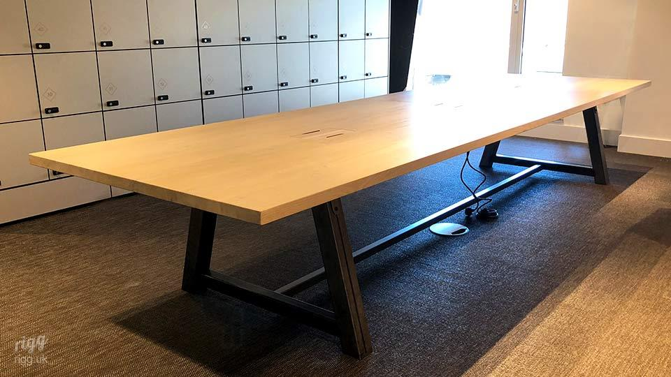 Modela Table with Thick Metal Legs, Solid Oak Top | London Office Design Studio