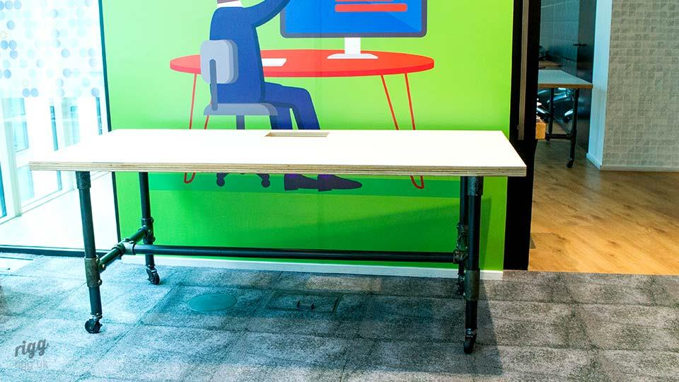 Scaffold Style Educational Table with Plywood Top, Castors