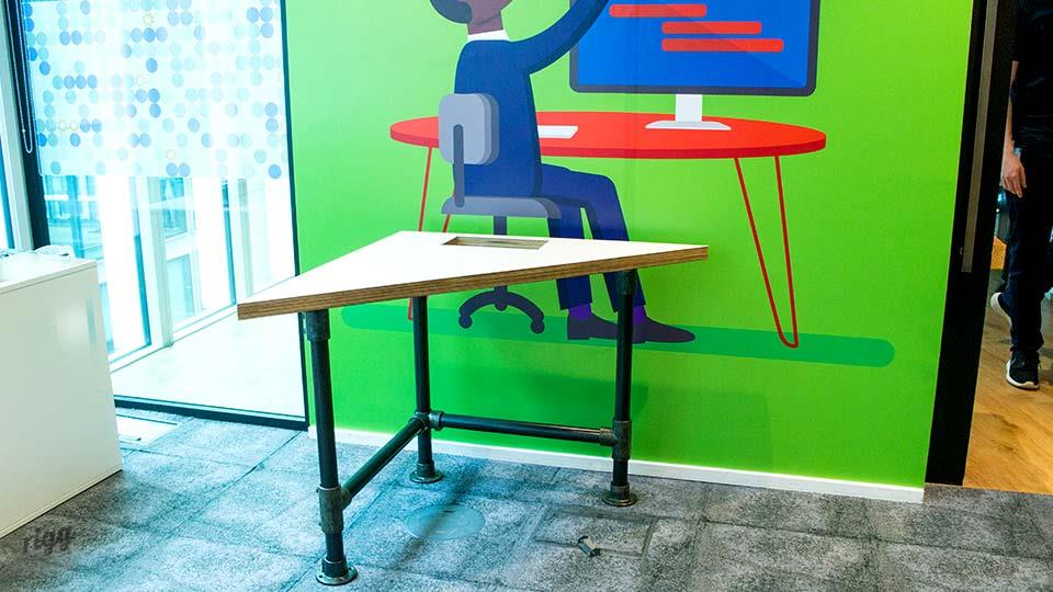 Triangular Classroom Table, Plywood & Laminate Top, Scaffold Legs