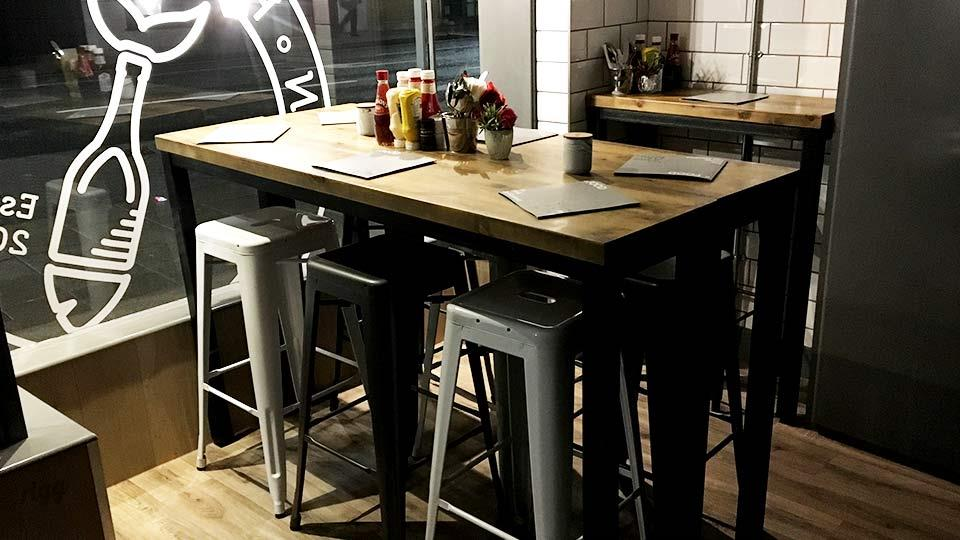 Vintage Industrial Cafe High Tables at Fish & Fin