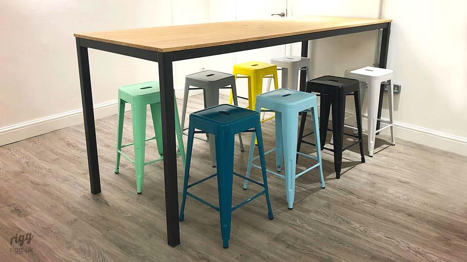 Quad High Office Table with Colourful Stools