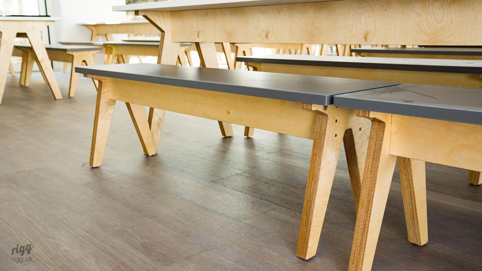Birch Plywood Legs on Dining Table & Benches