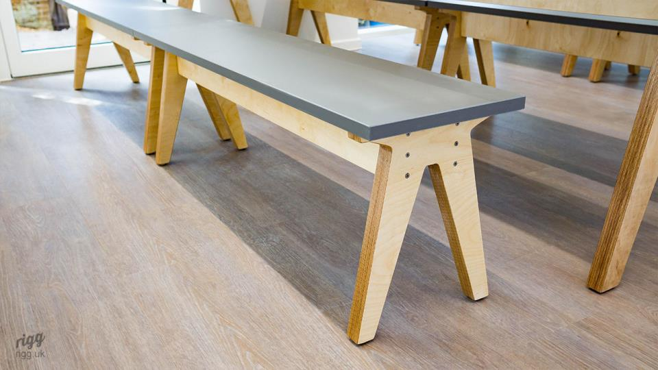 Birch Plywood Seating Bench with Grey HPL Top