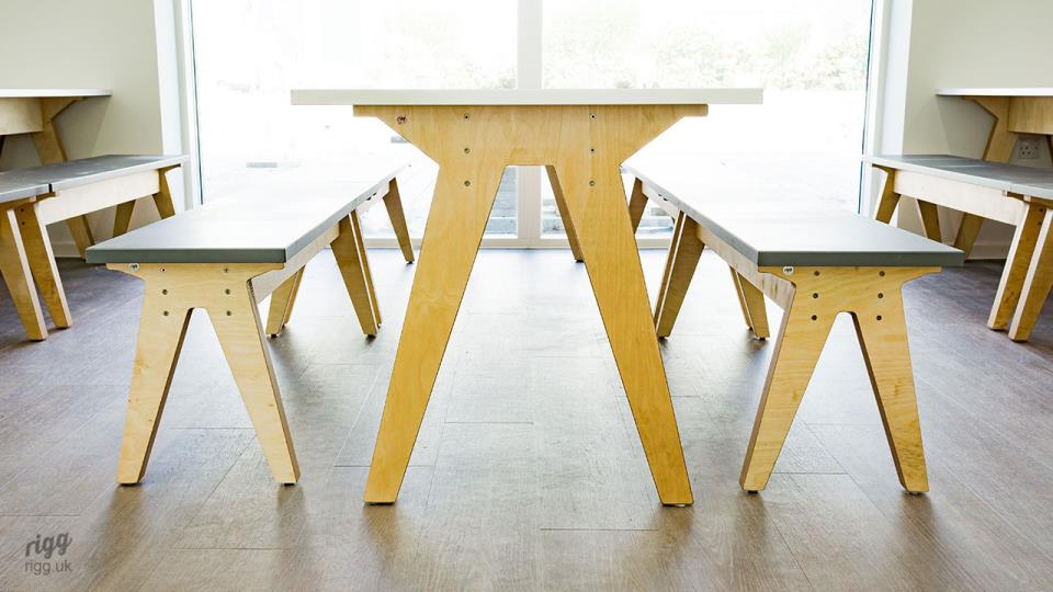 Modern Plywood Table & Benches with Angled Legs - Synk
