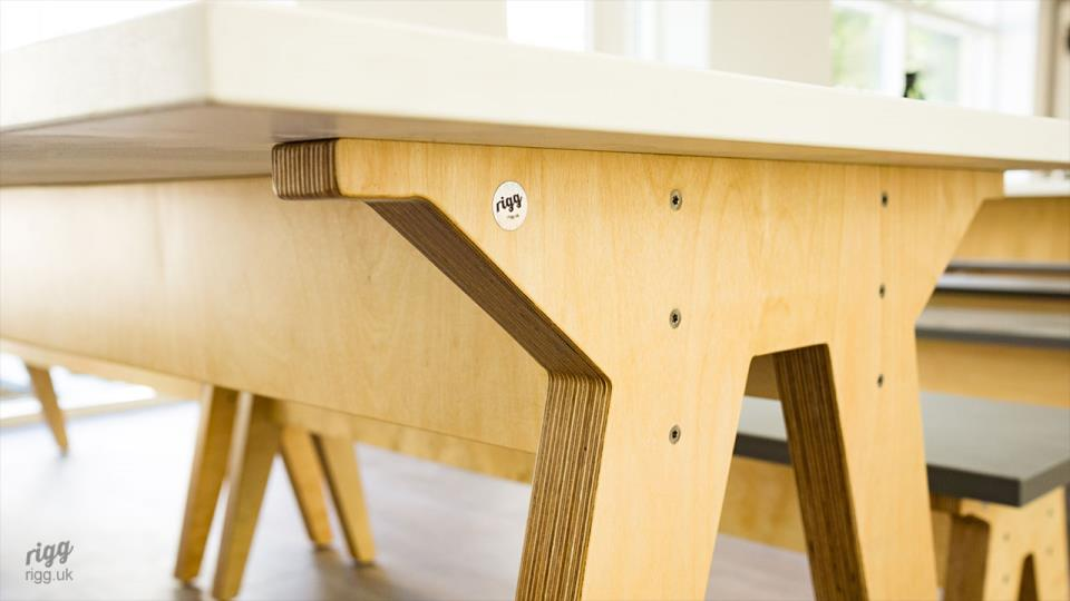 Rigg Synk Table - Plywood Leg Close-up