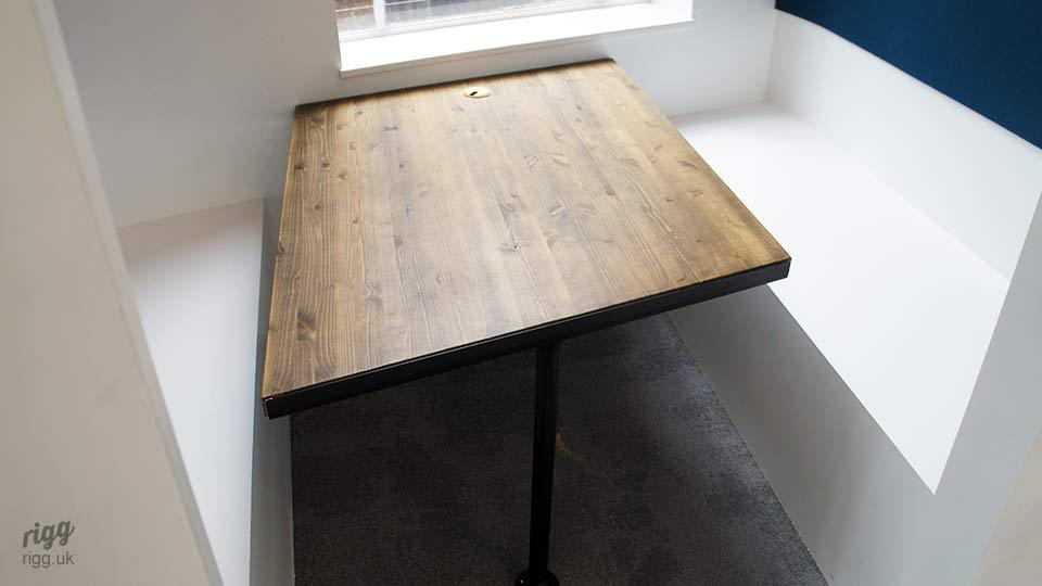 Bespoke Booth Table with Wooden Top & Metal Leg