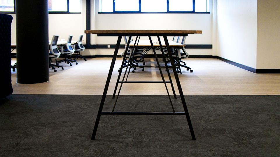 High Touchdown Table with Wood Top in Co-working Office Space