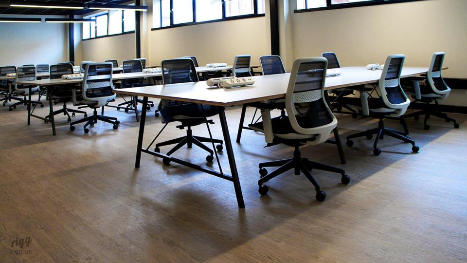 Large Co-working Tables - Trail with Birch Plywood HPL Top, Power & Data
