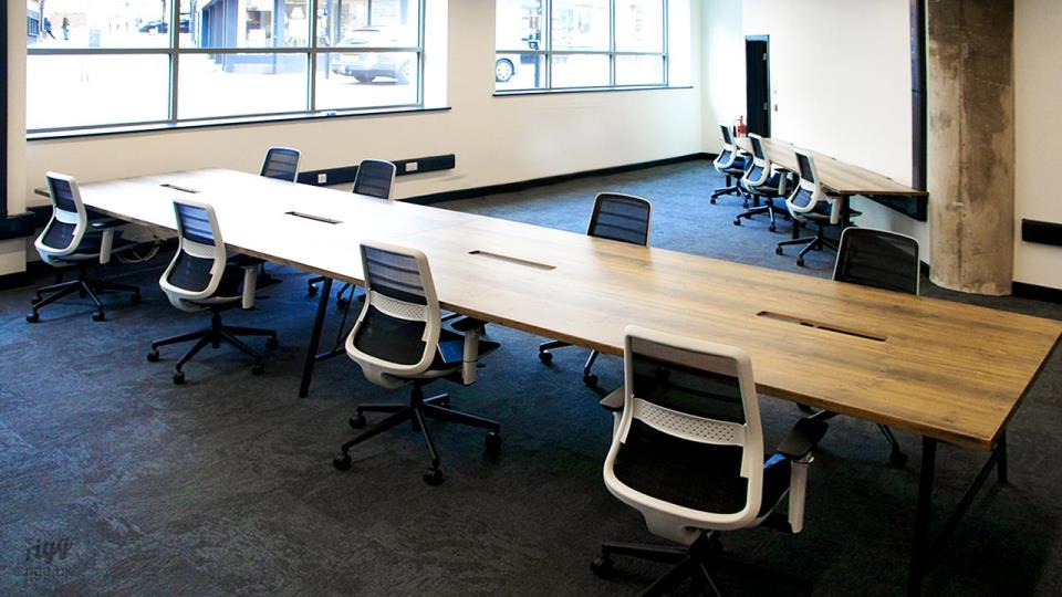Large Solid Timber and Metal Tables in Coworking Space, Lincoln