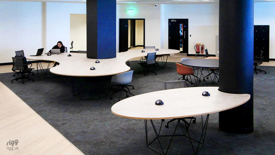 Large, Special Curved Shape & Elliptical Tables in Office Fit-out, Made by Rigg