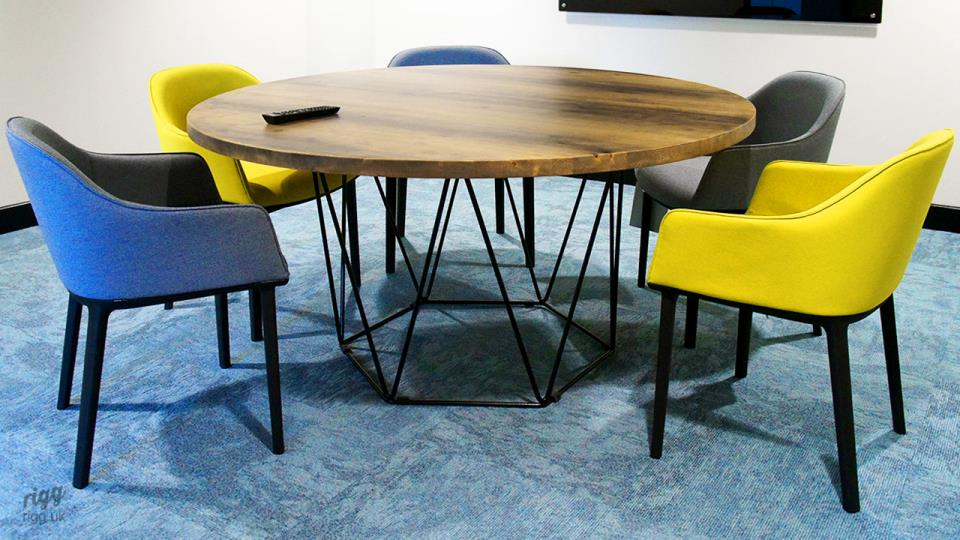 Round Table with Geometric Wire Base in Co-working Meeting Room