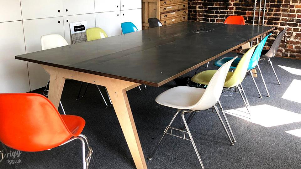 Modern Wide Meeting Table with Plywood Legs
