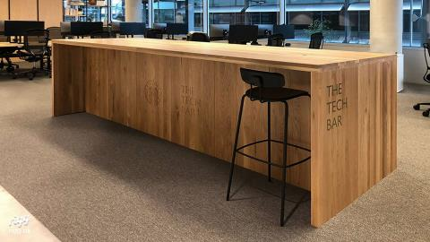 Large Solid Oak Office Tech-Bar - with Storage & Carved Logo