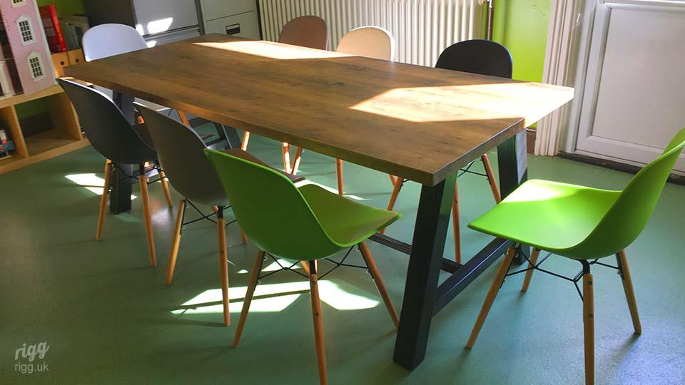 School Table with Wooden Top