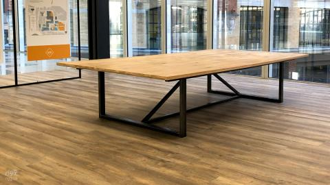 Large Wood & Metal Conference and Coworking Office Table - One Bartholomew, London