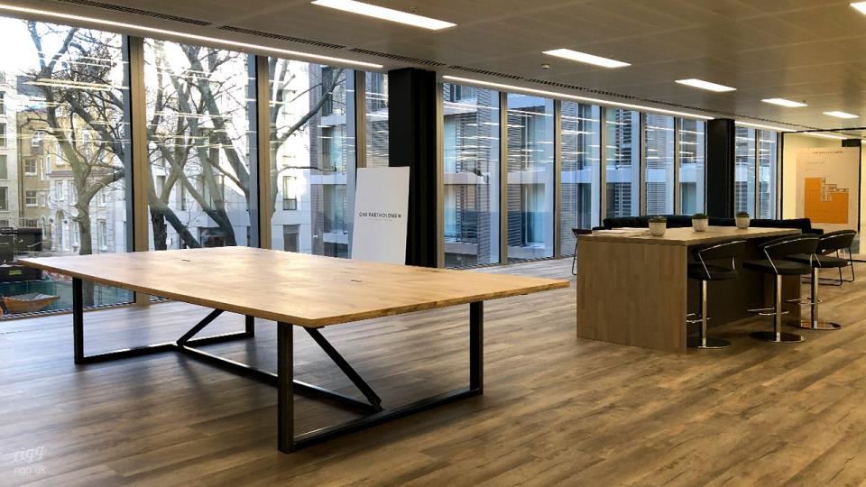 Big Co-working Table with Solid Oak Top & Metal Legs