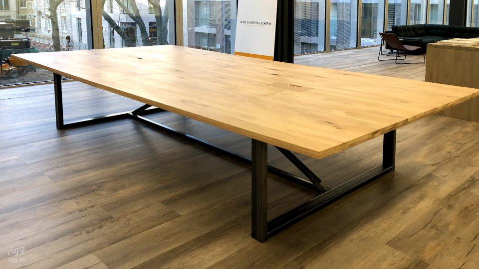 Large Oak Table, 2 Part Top, Installed with Power & Data - Workspace, Barts Square, Farringdon