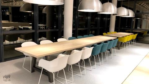 Large Solid Oak Tables for Workspace Canteen & Social Space, Paris