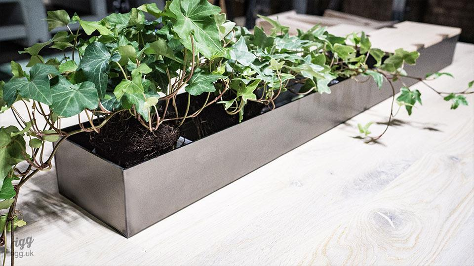 Industrial Style Metal & Wood Planter with Power & Data Option