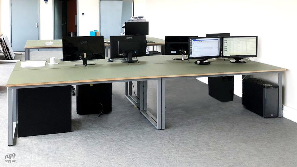 Workstations with Plywood & Linoleum Top, Grey Legs - Architect Studio