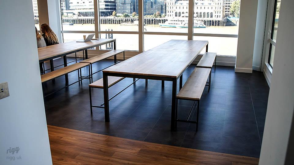 Industrial Office Oak Tables & Benches