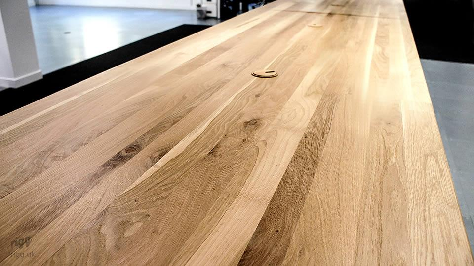 Oak Office Table Cable Management