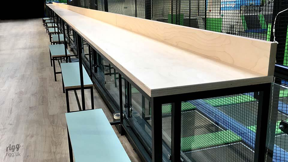 Long Thin High Table Plywood Top Metal Frame
