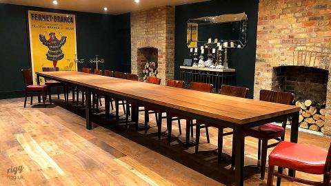 Long 10 Seater Solid Oak & Steel Tables - Restaurant, Oxford