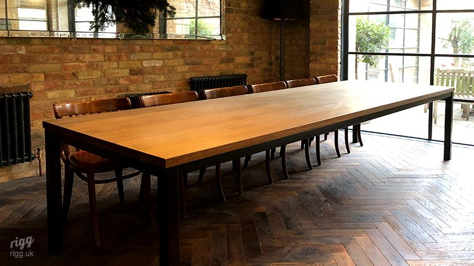 Large Restaurant Table for Groups to Seat 10-12, Wood Top, Metal Legs