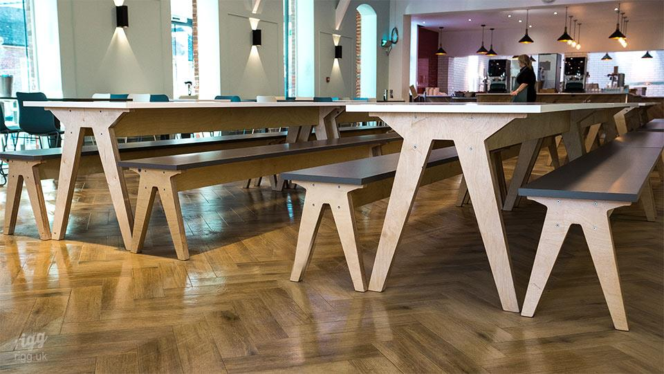 College Canteen Table & Benches - Birch Plywood & HPL