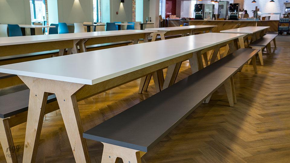 Modern Educational Tables, Formica Crystal White on Plywood