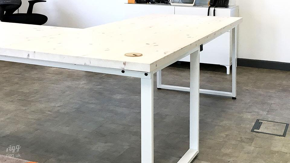 Loop Office Table with T Shaped Top and Metal Frame