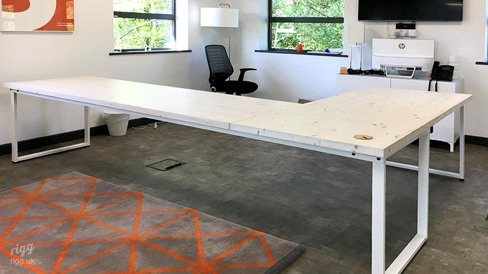 L Shaped Desk with White Frame and Top at Recruitment Training Agency