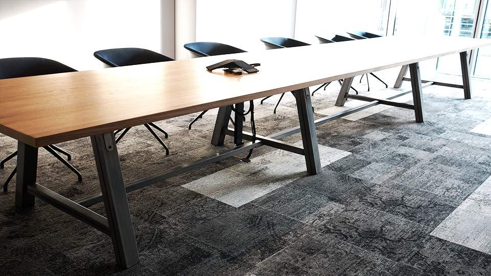 Large Oak Boardroom Table in Media & Comms Office