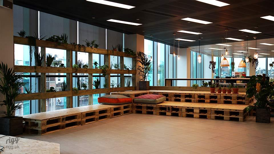 Office Pallet Seating & Window Planters in Media PR Office