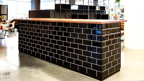 Office Breakout Bar with Black Metro Tiles