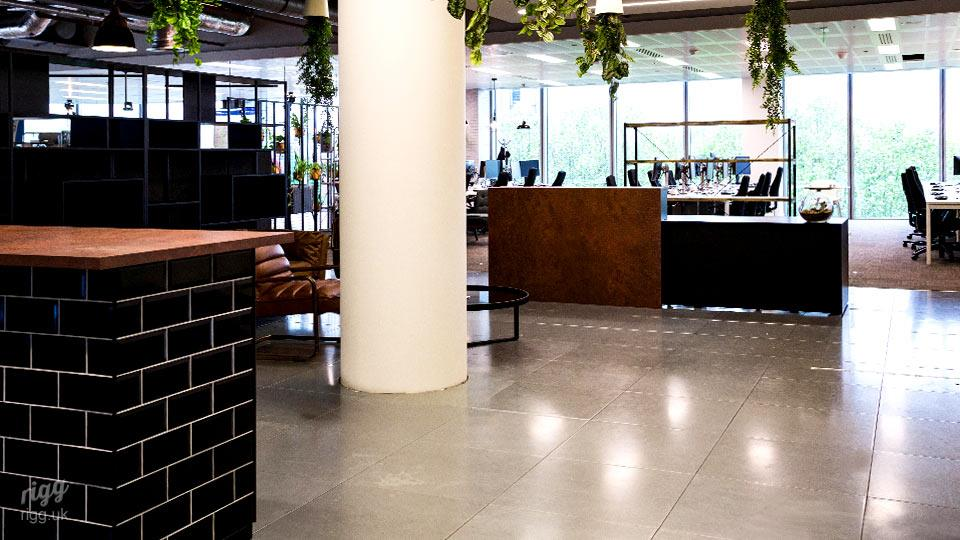 London Office Installation of High Bar for Social Space and Reception Desk