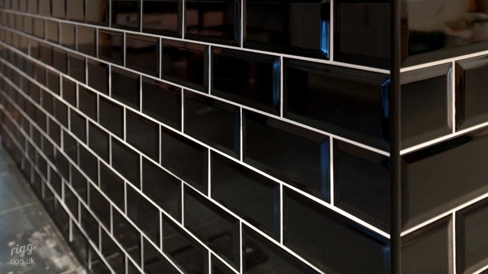 Office Furniture with Black Metro Tile & White Grout Detail