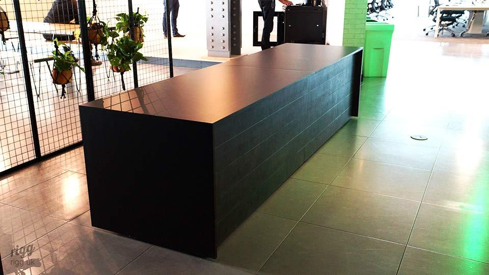 Reception Desk - Birch Plywood, Black HPL Top