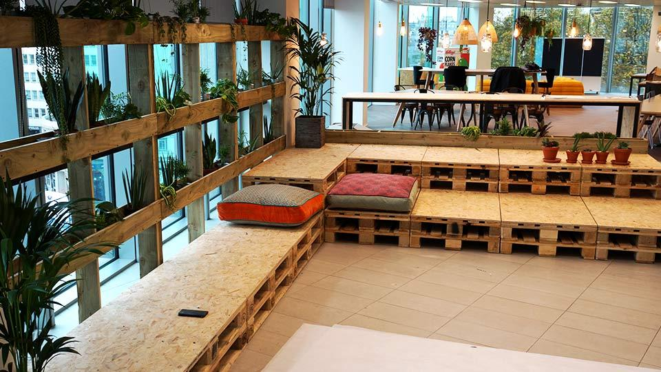 Office Window Planters & Pallet Seating