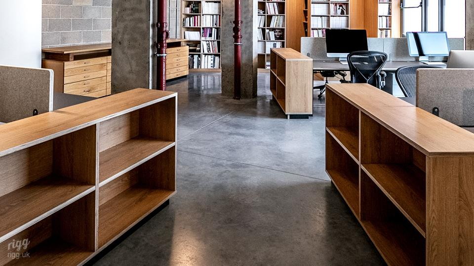 Brutalist Concrete Office Interior with Custom Furniture Made in UK
